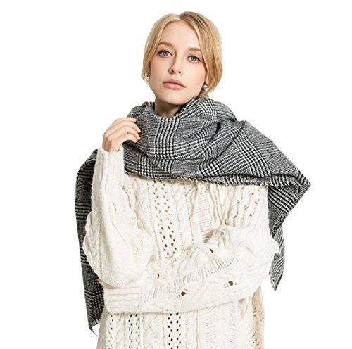 Grey Cape Winter Shawl Scarf Scarf Pattern Acvip Fall para mujeres Plaid ZnYwpxtq