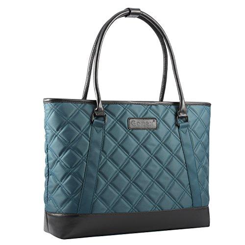 Gonex Women Laptop Tote Bag, 15.6 Inch Lightweight Tablet Handbag Shoulder Bag Briefcase for Business Work Travel Blue