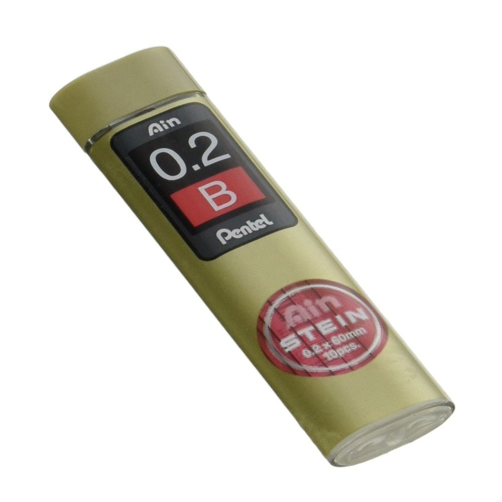 Pentel Ain Stein Mechanical Pencil Lead, 0.2mm HB, 10 Leads (C272-HB)