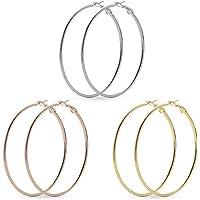 3 Pairs Big Hoop Earrings for Women,Bagvhandbagro Stainless Steel Hoop Earrings in 18K Gold Silver Rose Gold Plated…