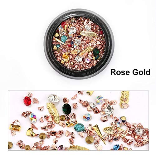 Nail Art Supplies - 1 Box Colorful Rock Nail Decorations Mixed Metal Rivet Rhinestones For Nails 3D Crystal Stones DIY Design Manicure Diamonds - Rose -