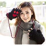 [CHASE] ニャンとも可愛い猫手袋 スマホに便利 ふわふわあったか  【CHASEオリジナル 特製あったかイヤーウォーマー付き2点セット】CH006