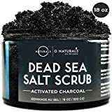 O Naturals Extreme Pore Cleansing Activated Charcoal Exfoliating Face & Body Scrub. Hydrates Detoxifies Anti Cellulite Minimize Pores Treats Acne Blackheads Oily Skin Dead Sea Salt Peppermint Oil 500g