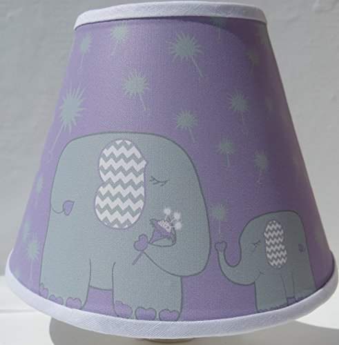 Elephant Night Lights / Purple with Grey Dandelions / Elephant Nursery Wall Decor