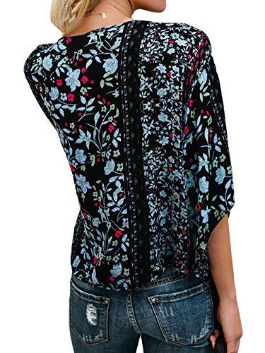 Freestyle Manches T Noir Imprime Tops Haut Fashion V Casual Femmes Blouses Chemisiers Shirts Tee Shirt 3 t 4 Lache Col q8rZq6
