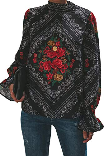 De Africano Rojo Top La Cuello Flor Blusa Rose Manga Subido Alto Larga Flores Obispo Tribal Camisa Blusón Étnico Linterna wWwqpvIxT