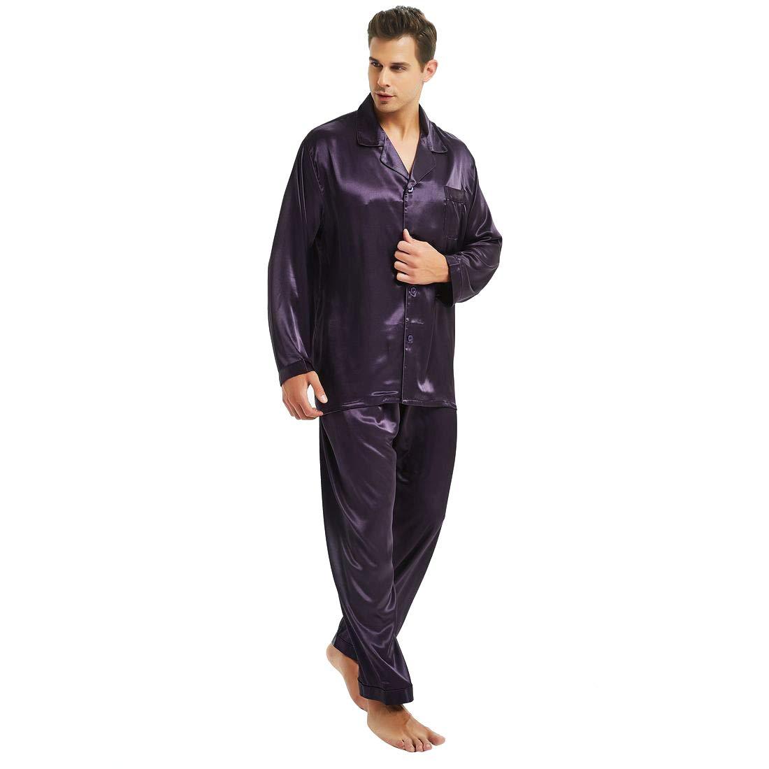 Mens Silk Satin Pajamas Set Purple 2XL