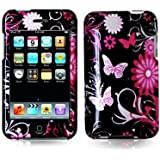 New Pink Butterfly Flowers 2D Design Glossy Crystal Hard Skin Case Cover for Ipod Touch 2nd and 3rd Generation 2g 3g 2 3 8gb 16gb 32gb 64gb