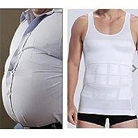 Digital baby Men Slim Body Shaper Waist Abdomen Underwear Less Beer Belly Compression Men Sport Vest(Milk white,M)