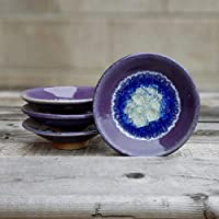GEODE RING DISH: Individual Geode Ring Dish in PURPLE Fused Glass Dish, Trinket Dish, Soap Dish, Crackle Glass, Candle Holder, Dock 6 Pottery, Kerry Brooks Pottery