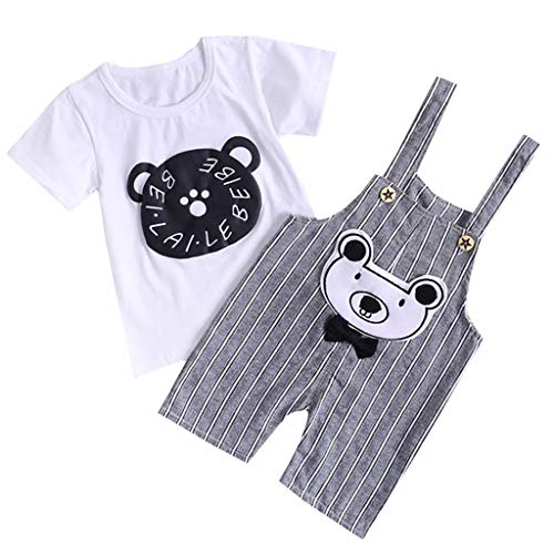 FEITONG Kids Baby Girl Boy Cartton Short Sleeve Tops T Shirt Striped Overall Strap Jumpsuit 2Pcs Outfits Set(Gray,2-3Y ()