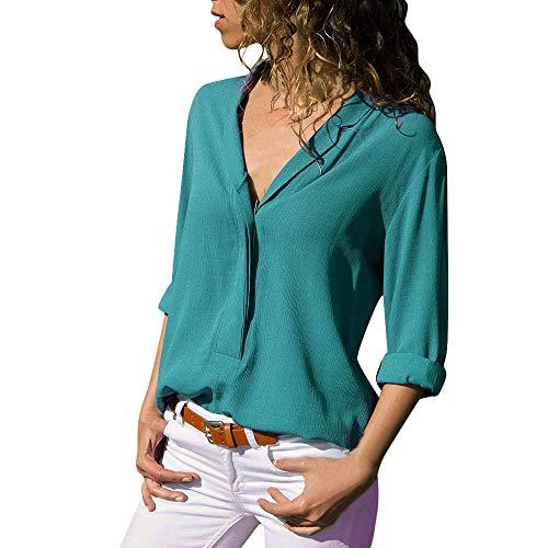 Byyong Women's Casual Solid Long Sleeve Turn Down Collar Chiffon Button Front Shirt Tops