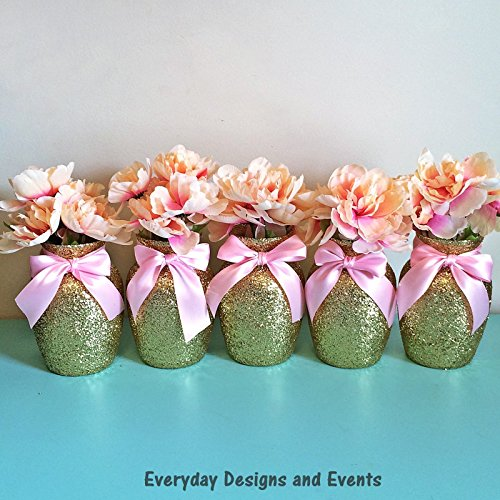 8 Gold Glitter vases with light pink ribbons Wedding decorations Gold Wedding Party Decorations Birthday Decor Baby Shower Bridal Shower Party Supplies Party centerpieces First Birthday Gold and Pink