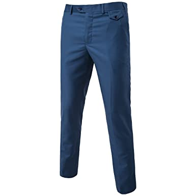 601dffa82462 MAGE MALE Men's Classic Slim Fit Suit Pants Flat Front Wrinkle-Free Stretch  Casual Solid