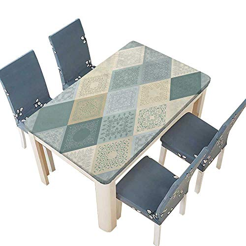 - PINAFORE Polyester Tablecloth Seamless Abstract Pattern Patchwork Frame of Trendy Colored Floral Flower Tiles for Wallpaper Kitchen Tablecloth Picnic Cloth W37.5 x L76.5 INCH (Elastic Edge)