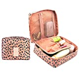 CalorMixs Travel Cosmetic Bag Printed Multifunction Portable Toiletry Bag Cosmetic Makeup Pouch Case Organizer for Travel (Pink Leopard print)