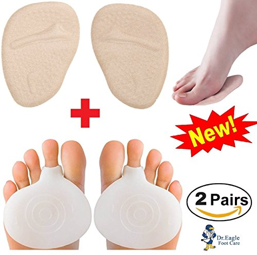 Medical Metatarsal Pads, Gel Forefoot Shoe pads Shoe Insoles Ball of Foot Cushions for women high heel to Pain Relief, 2 Pairs (4 Pieces). Dr.Eagle foot care (®)
