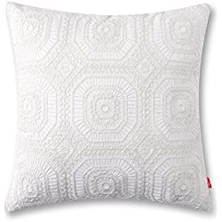 Embroidered Cushion Cover Unique Pattern Designs Throw Pillow Cover White