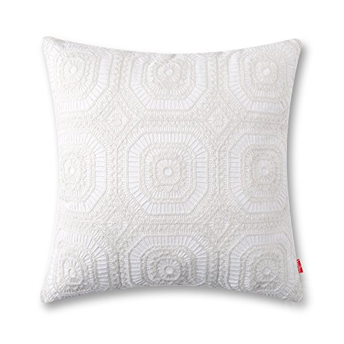 baibu Embroidered Cushion Cover Unique Pattern Designs Throw Pillow Cover White