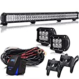 2011 nissan frontier grill guard - 36 Inch 234W Led Light Bar Grill Guard Roll Bar Push Bumper Canopy Roof Rack + 4In 18W Pods Cube Driving Fog Lights W/Rocker Switch For Dodge Truck RTV Golf Cart Boat Toyota Tacoma 4 Wheeler Chevy