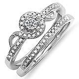 0.25 Carat (ctw) Sterling Silver Round Diamond Ladies Bridal Promise Ring Set Matching Band 1/4 CT (Size 8)