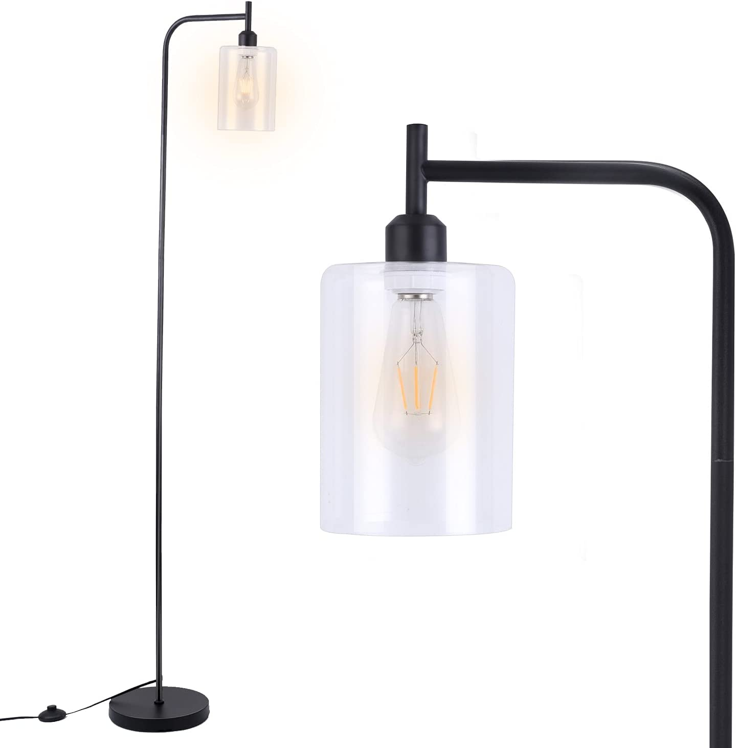 LED Floor Lamp,Black Industrial Floor Lamp with Hanging Glass Lamp Shade,Modern Standing Home Decor Lamp,Classic Vintage Standing Lamp for Reading,Living Room,Bedroom,Office,E26 Base,LED Bulb Included