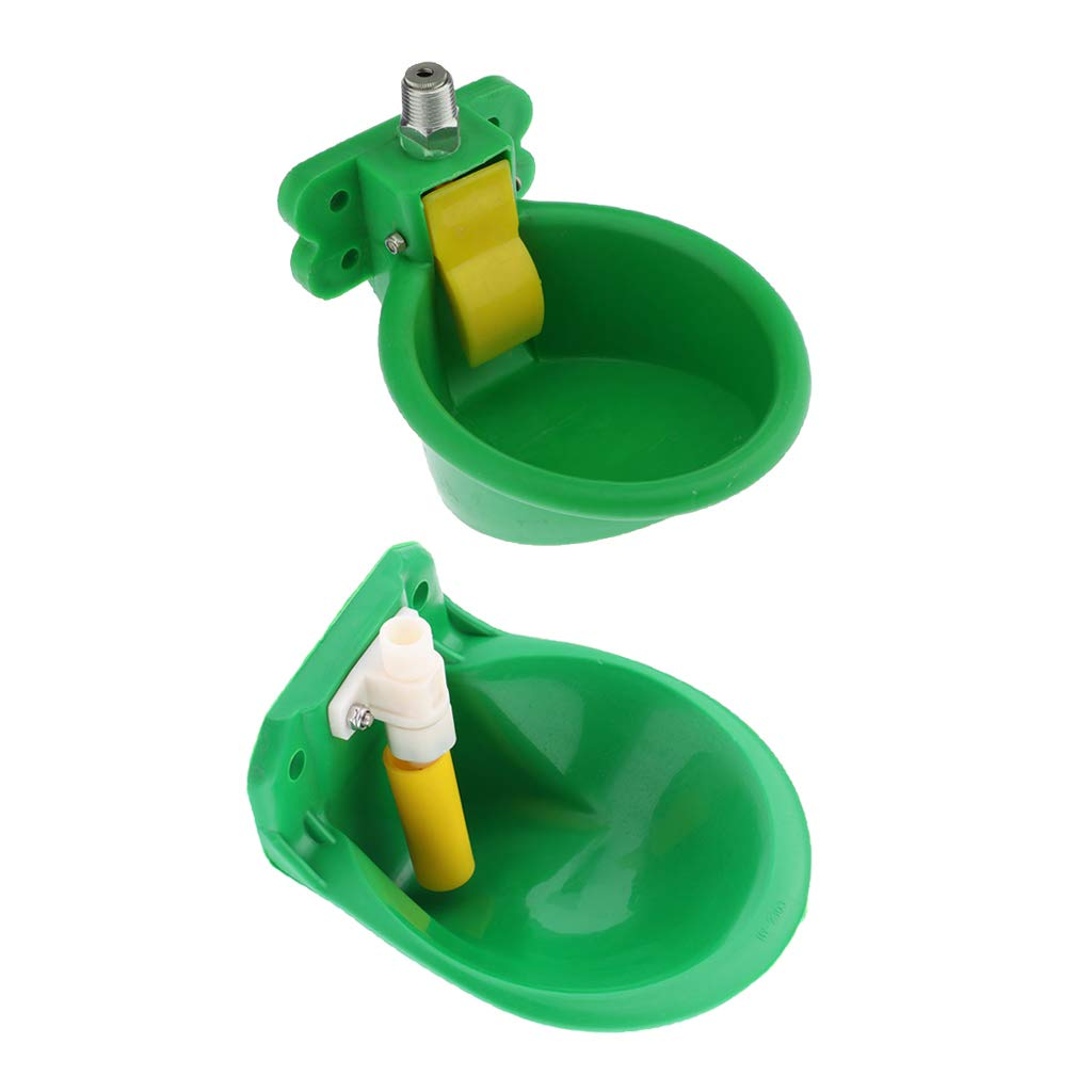 homozy Set of 2 Plastic Automatic Waterer Bowl Horse Goat Sheep Pig Dog Water Farm Supplies Livestocktool, Green by homozy