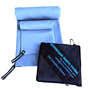Micro-Miracle XL (30-Inch-by-60-Inch) Soft Microfiber Travel Towel with Hand Towel and Nylon Mesh Carry Bag, Pale Blue