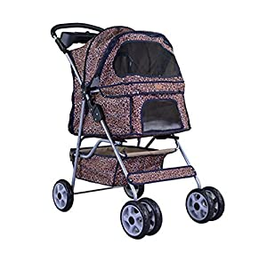 NEW Extra Wide Leopard Skin 4 Wheels Pet Dog Cat Stroller With RainCover