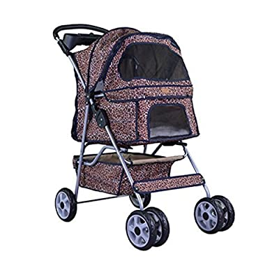 NEW Extra Wide Leopard Skin 4 Wheels Pet Dog Cat Stroller With RainCover from Bestpet