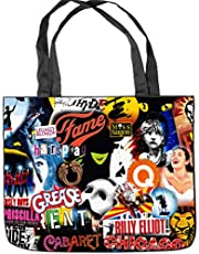 "Broadway Musical Collage Tote Bag Shopping Bag Shoulder Handbags Canvas Tote Bag (Two Sides Print) Size: 15.5"" x 12.5"" x 3.5"""