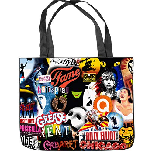 """Broadway Musical Collage Tote Bag Shopping Bag Shoulder Handbags Canvas Tote Bag (Two Sides Print) Size: 15.5"""" x 12.5"""" x 3.5"""""""