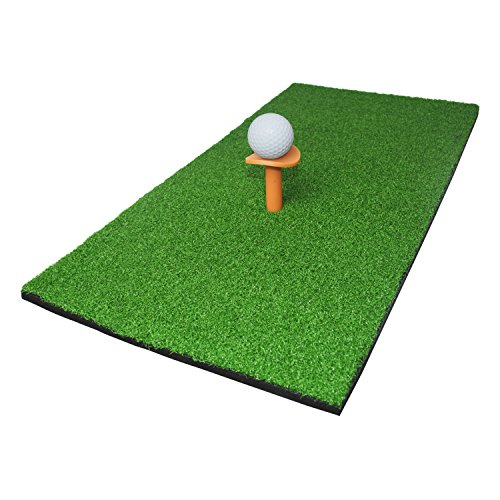 ALEKO GHM12X23 Golf Mini Hitting Mat with Rubber Tee and Golf Ball Golf Practicing Mat, Green