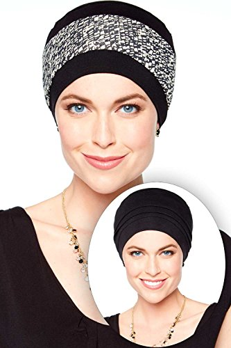 Print Reversible Beanie (Reversible Bamboo Beanie Hat - Hats for Cancer Patients, Chemo Hat Black with Neutral Mosaic Print)