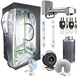 SINOWELL 9 Piece 4' x 4' Hydroponic Mylar Grow Tent Kit - 1000W 3-Mode DE System, 1000W HPS & MH Lamps, Carbon Filter, Fan, ETC.