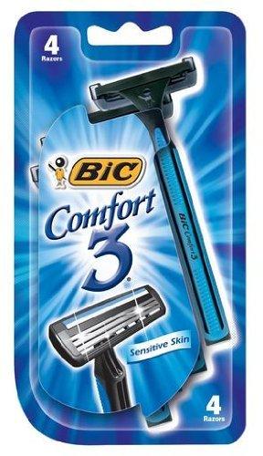 Bic Comfort 3 Shavers for Men Sensitive Skin, 4 Each (Pack of 6)