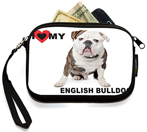 UKBK I Love My English Bulldog Brown Color Neoprene Clutch Wristlet with Safety Closure - Ideal case for Camera, Universal Cell Phone Case etc. by Rikki Knight (Image #1)