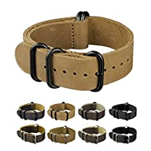 INFANTRY 22mm Genuine Leather G10 Watch Band Replacement Straps Metal Buckle 5 Black Rings Light Brown