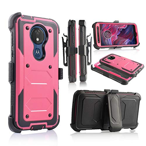 Case for Motorola Moto G7 Play case (2019) Heavy Duty Full-Body Rugged Holster Defender Armor Case with Built-in Screen Protector, Belt-Clip, Kickstand (Hot Pink) (Motorola Moto G Best Price)