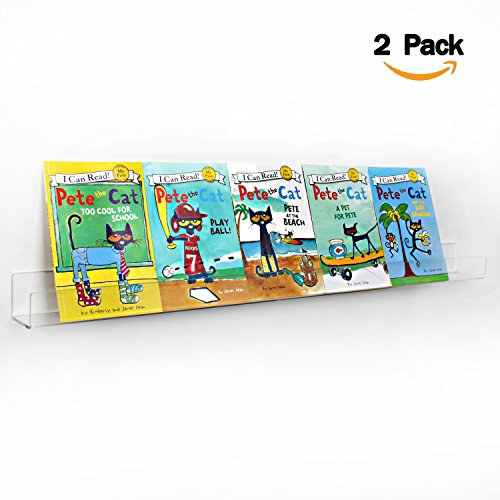 NIUBEE Kids Acrylic Floating Bookshelf 36 Inch,2 Pack,Clear Invisible Wall Bookshelves Ledge Book Shelf,50% Thicker with Free Screwdriver 36in Kitchen Shelves