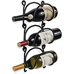 Wallniture Wrought Iron Wine Rack – Wall Mount Bottle Storage Organizer – Rustic Home Decor Set of 3