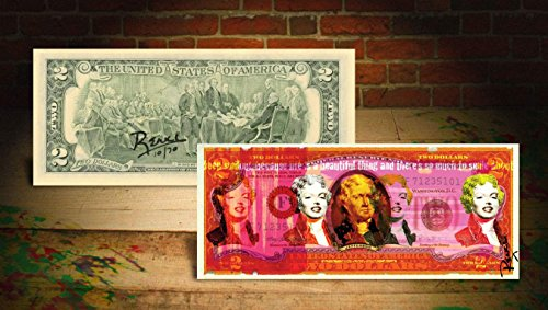 MARILYN MONROE RED Rency / Banksy Pop Art $2 Bill - Signed by Artist #/70 Warhol ()