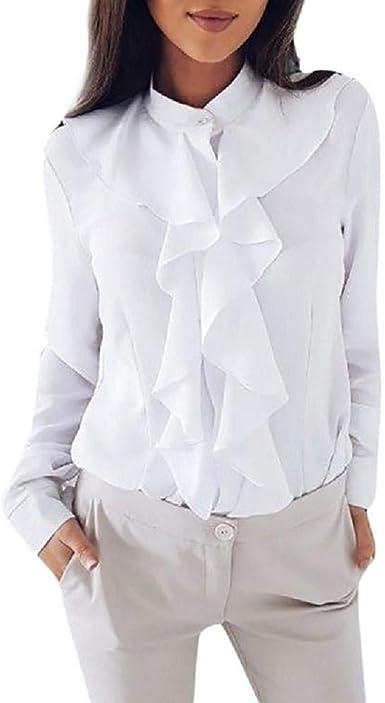 VECDY Camisa De Manga Larga para Mujer Camisa Ligera con Volantes Top De Camisa para Mujer De Oficina: Amazon.es: Ropa y accesorios
