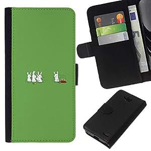 // PHONE CASE GIFT // Moda Estuche Funda de Cuero Billetera Tarjeta de crédito dinero bolsa Cubierta de proteccion Caso LG OPTIMUS L90 / Cannibal Bunny Rabbits - Funny /