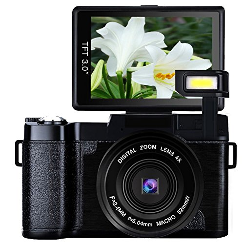 Digital Camera Vlogging Camera for Youtube with Flip Screen 1080p Full HD 24MP 3.0 Inch WIFI Camera with Retractable Flashlight Camcorder (Hd Camcorder Flip)