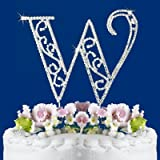 ROMAN STYLE CRYSTAL WEDDING CAKE TOP MONOGRAM LARGE LETTER W