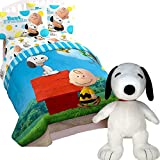 Jay Franco PEANUTS SNOOPY Charlie Brown 'Sunny Day' Kids TWIN SIZE Comforter Sheet Set + PILLOW BUDDY