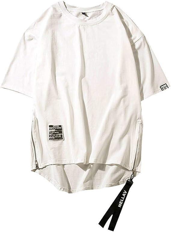 MOTOCO Hombre Camiseta de Manga Corta O-Cuello Suelto Hip-Hop Street Wind Side Zip Camiseta de Manga Corta(3XL,Blanco): Amazon.es: Ropa y accesorios