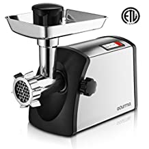Gourmia GMG7500 Prime Plus Stainless Steel Electric Meat Grinder Different Grinding Plates, Sausage Funnels And Kibbeh Attachment Recipe Book Included 800 Watts ETL Approved 2200 Watts Max.