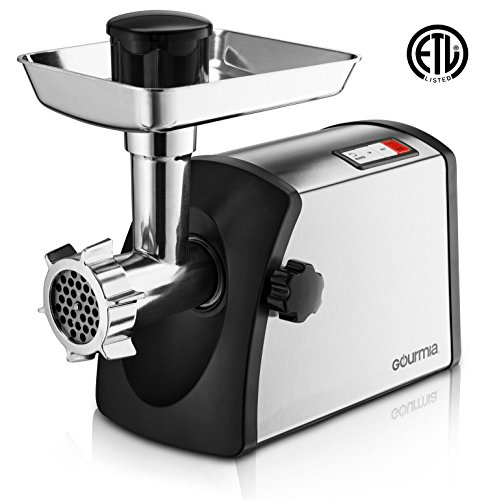 Gourmia GMG7500 Prime Plus Stainless Steel Electric Meat Grinder Different Grinding Plates, Sausage Funnels And Kibbeh Attachment Recipe Book Included 800 Watts ETL Approved 2200 Watts Max. - 110V by Gourmia